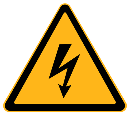 watch out: Yellow Triangle Electrical Shock Warning Sign Isolated on White Background. Stock Photo