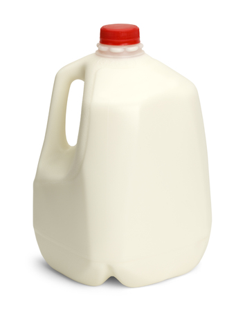 Gallon of Whole Milk with Red Palstic Cap Isolated on White Background. Stock Photo