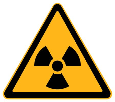 Yellow Triangle Nuclear Warning Sign Isolated on White Background.