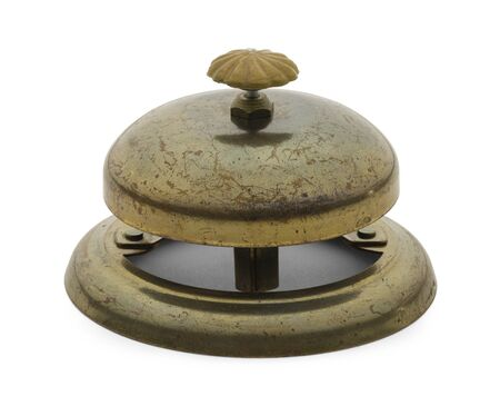Worn Antique Service Bell Isolated on a White Background.