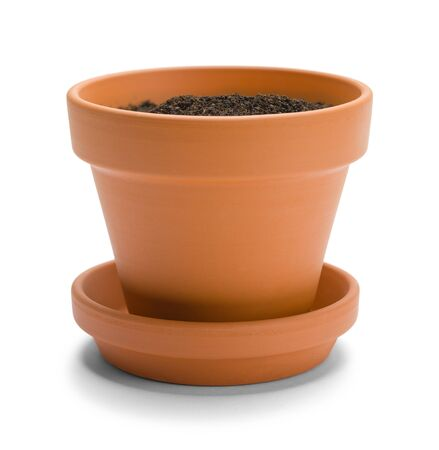 Dirt in Terracotta Pot Isolated on a White Background. Stock Photo
