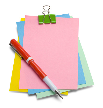 Messy Notes with Pen and Copy Space Isolated on a White Background.