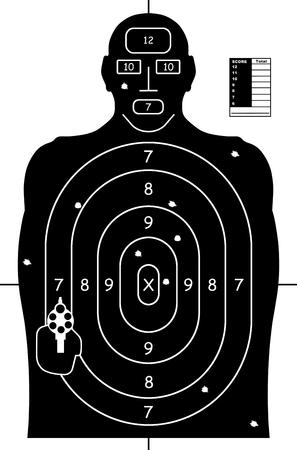 In bianco e nero della pistola di tiro Target Practice di carta con fori di proiettile e il punteggio. Archivio Fotografico