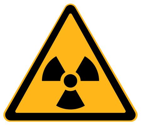 Gele driehoek Nucleaire waarschuwing geïsoleerd op een witte achtergrond. Stockfoto