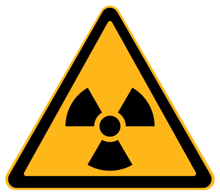 Yellow Triangle Nuclear Warning Sign Isolated on White Background. 版權商用圖片 - 68671347