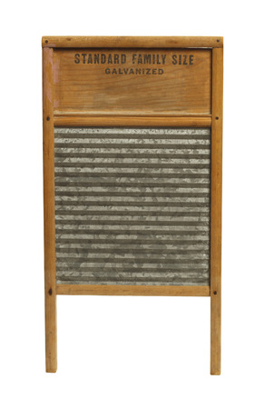 washboard: Vintage Wood and Metal Washboard Isolated on White Background.