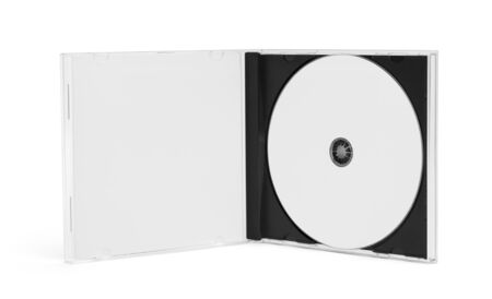 Open CD Case with Disc and Copy Space Isolated on White Background.