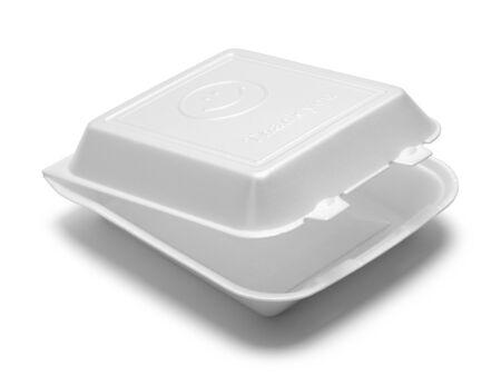 overs: Open Styrofoam To Go Box Isolated on White Background. Stock Photo