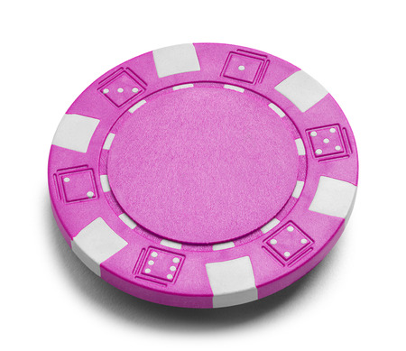 Pink Poker Chip with Copy Space Isolated on a White Background.