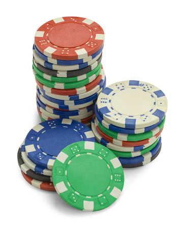 Stack of Poker Chips with Copy Space Isolated on a White Background.