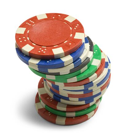 Single Stack of Poker Chips Isolated on a White Background.