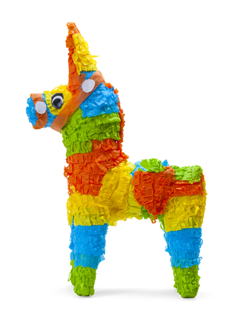 Donkey Pinata Side View Isolated on White Background. Stock Photo