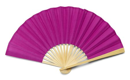 Pink Open Hand Fan Isolated on a White Background.