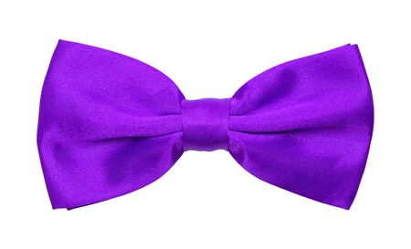 specific clothing: Purple Tuxedo Bowtie Isolated on a White Background.