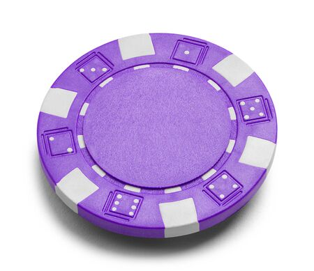 Purple Poker Chip with Copy Space Isolated on a White Background.