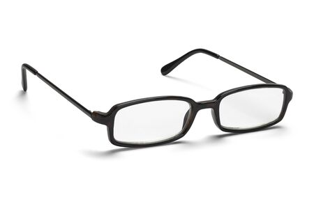 ange: Front View of Open Reading Glasses Isolated on a White Background.