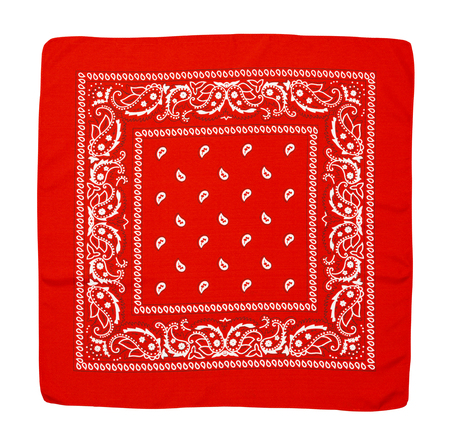 hankerchief: Square Fabric Red Hankerchief Isolated on a White Background.