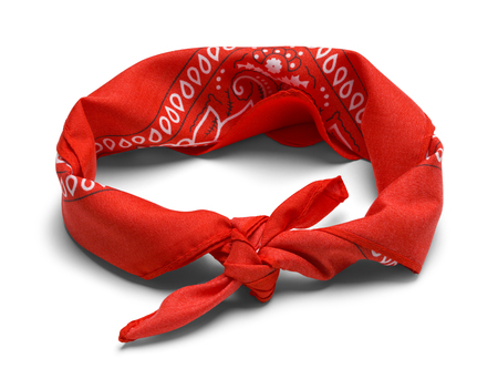 Red Hankerchief Headband Isolated on a White Background.