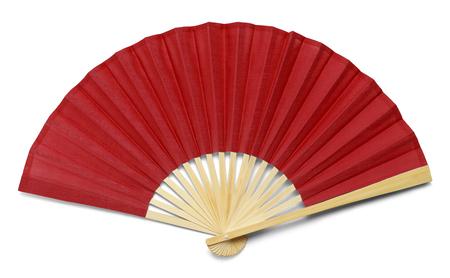 Czerwony wentylator otwartej dłoni na białym tle na białym tle.