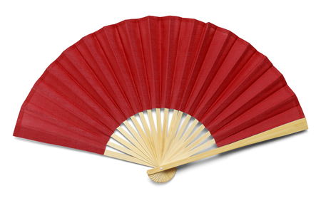 Red Open Hand Fan geïsoleerd op een witte achtergrond.