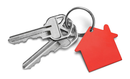 Set of Keys With Red House Isolated on White Background. Imagens
