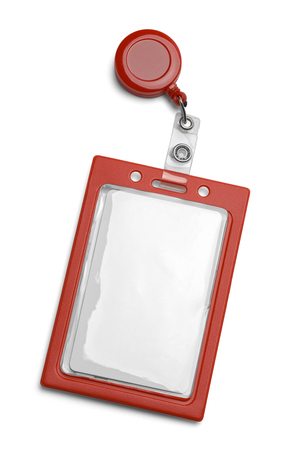 Red ID Card Holder Isolated on a White Background.