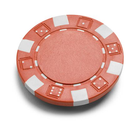Red Poker Chip with Copy Space Isolated on a White Background.