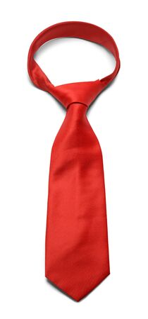 Mens Red Necktie Isolated on a White Background.