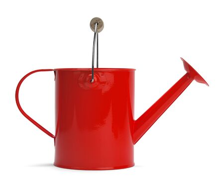 Side View of a Metal Red Watering Bucket With Handle Isolated on a White Background. Stock Photo