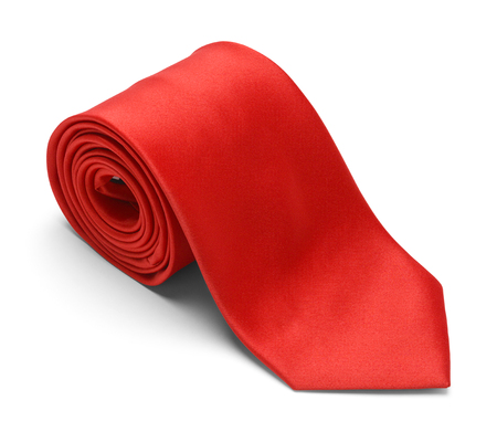 rolled up: New Mens Red Necktie Rolled Up Isolated on a White Background. Stock Photo