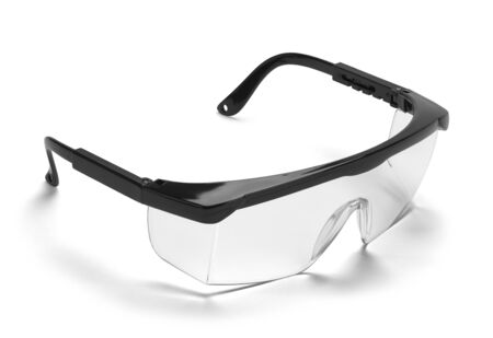 Black Plastic Protective Work Glasses Isolated on a White Background.