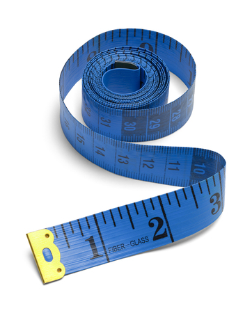 Blue Unrolled Sewing Tape Measure Isolated on a White Background.