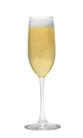 champagne region: One Glass of Champagne in Fluted Glass Isolated on White Backgournd.