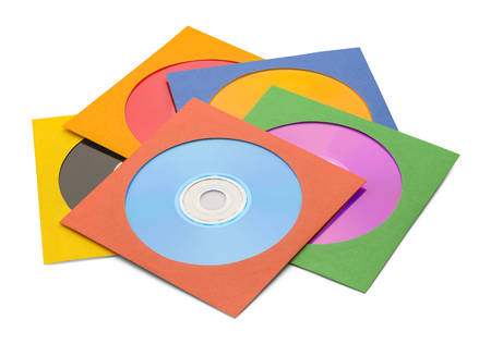 sleeve: FIve CDs in Case in Pile Isolated on a White Background. Stock Photo