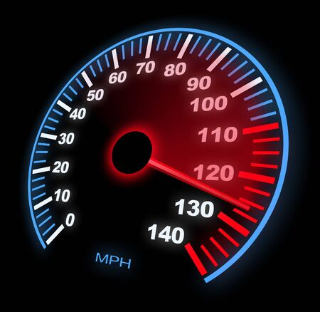 Lite Up Dashboard Speedometer With Motion Blur on Black.