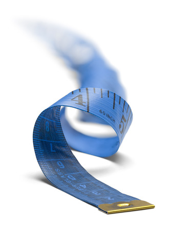 unravel: Blue Sewing Spiral Tape Measure Isolated on a White Background.