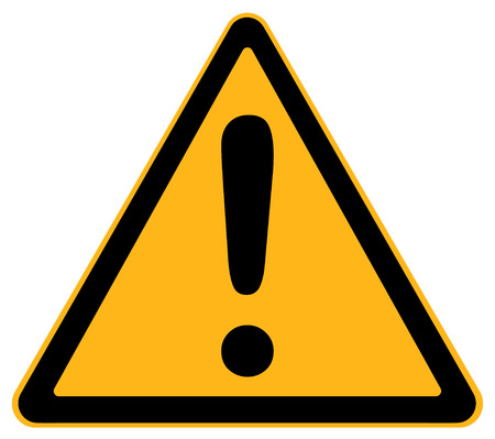 forewarn: Yellow Triangle Warning Sign With Exclamation Sign Isolated on White Background.