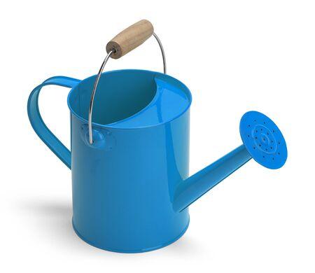 angle view: Angle View of a Metal Blue Watering Bucket With Handle Isolated on a White Background.
