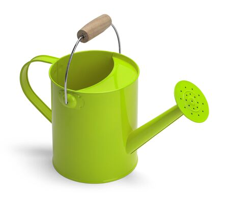 angle view: Angle View of a Metal Green Watering Bucket With Handle Isolated on a White Background.