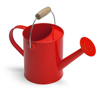 angle view: Angle View of a Metal Red Watering Bucket With Handle Isolated on a White Background.
