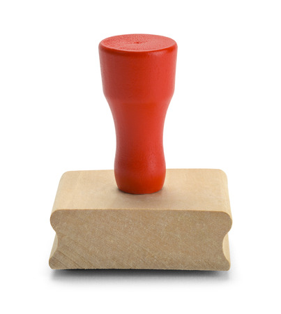 stamper: Red Wood Rubber Stamper Isolated on White Background.