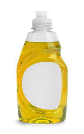 흰색 배경에 고립 된 노란색 액체 접시 비누의 작은 병.