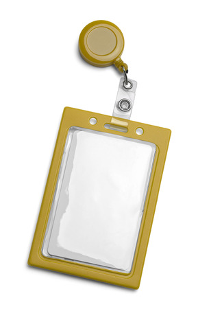 Yellow ID Card Holder Isolated on a White Background.