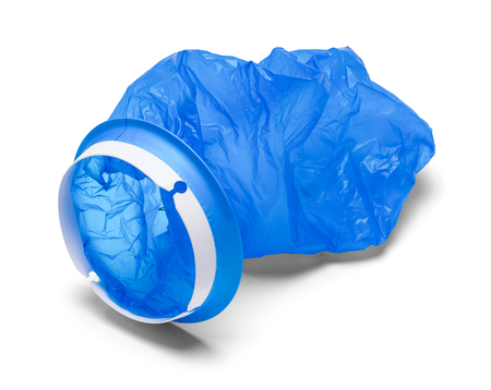 Blue Plastic Barf Bag Isolated on a White Background.
