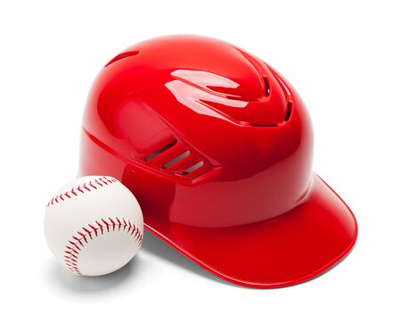 Red Plastic Baseball Helmet with Baseball Isolated on a White Background.