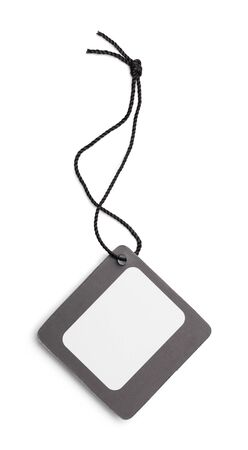 Square Black Retail Tag Isolated on a White Background.