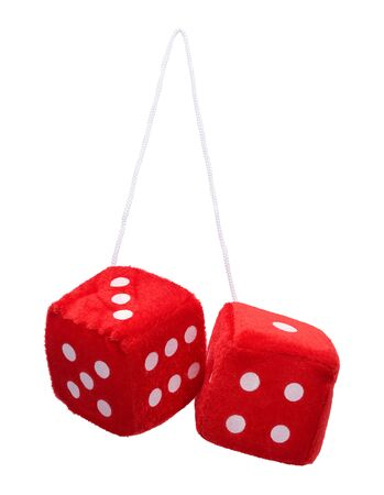 Red Fuzzy Hanging Dice Isolated on White Background. Фото со стока