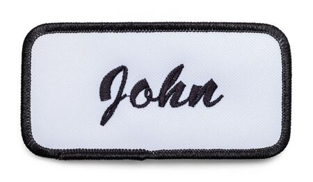 Fabric Name Patch Isolated on a White Background.