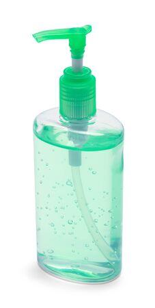 Green Bottle of Hand Sanitizer Isolated on White Background. Stock Photo