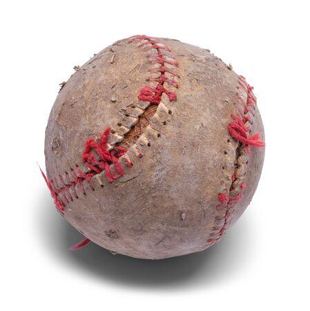 野球は、白い背景で隔離の古いアップビートは。 写真素材